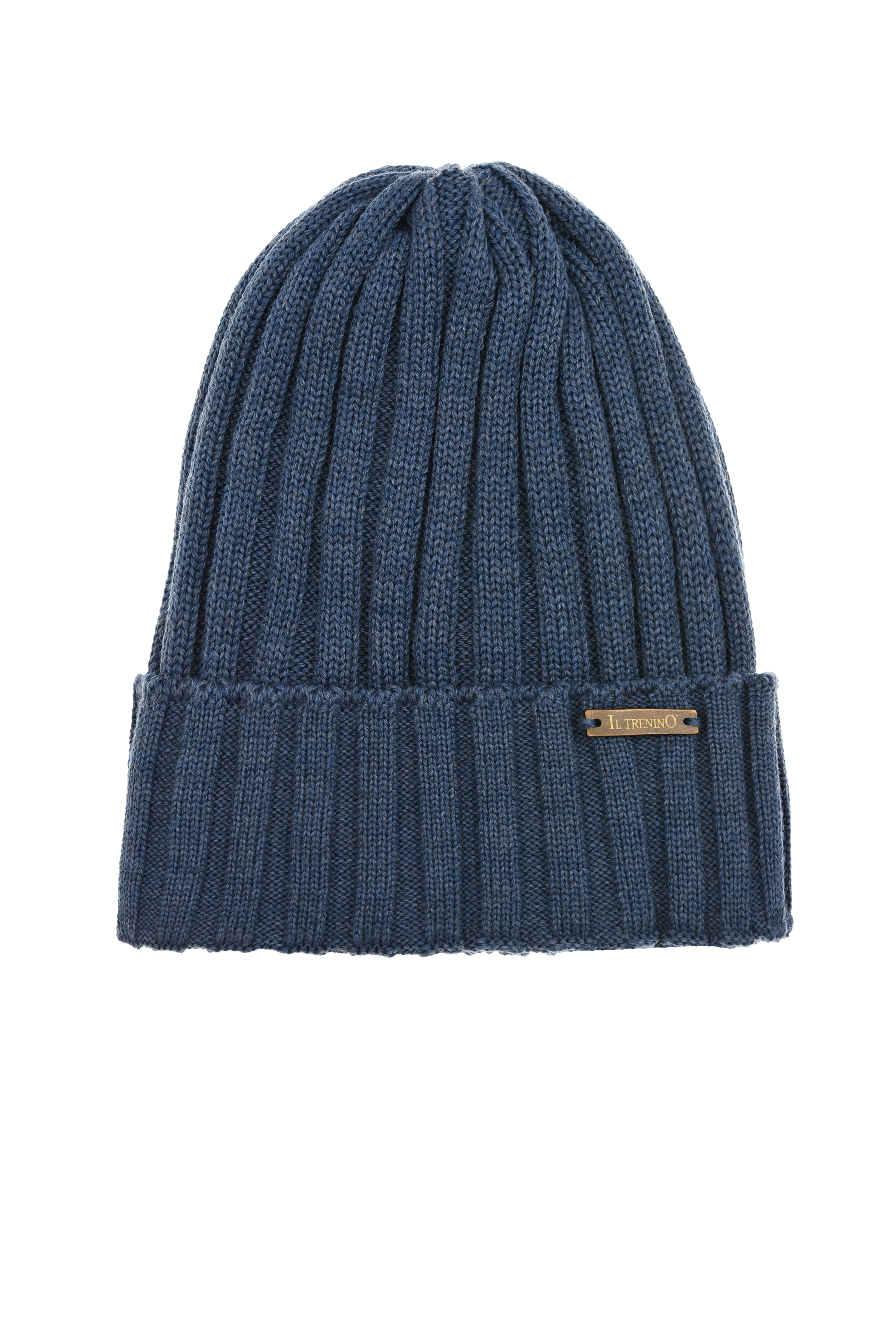 Синяя шапка из шерсти с отворотом Il Trenino детская, Синий, 100%шерсть  - купить со скидкой