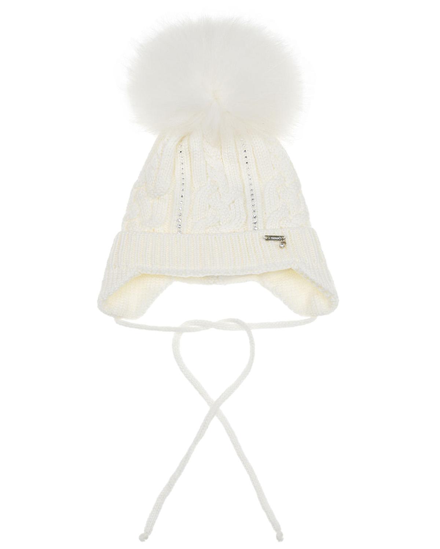 Купить Шерстяная шапка с дорожкой из страз Il Trenino детская, Белый, 100%шерсть, 100%полиэстер, нат.мех