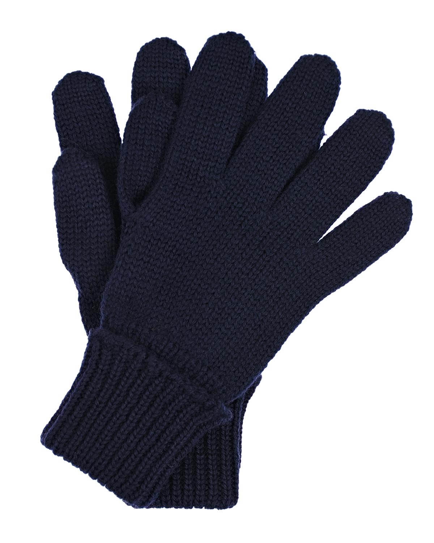 Купить Темно-синие перчатки из шерсти Il Trenino детское, Синий, 100%шерсть