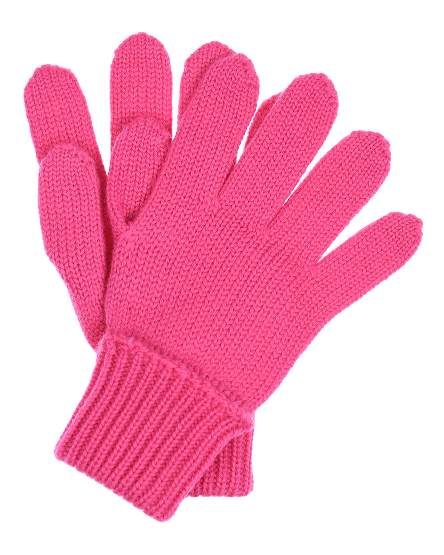Купить Шерстяные перчатки цвета фуксии Il Trenino детские, Розовый, 100%шерсть