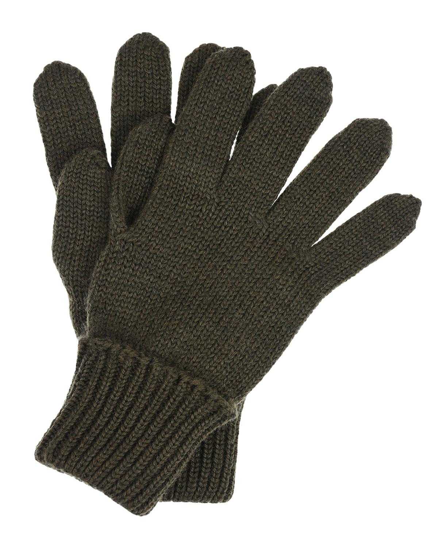 Купить Шерстяные перчатки цвета хаки Il Trenino детские, Хаки, 100%шерсть