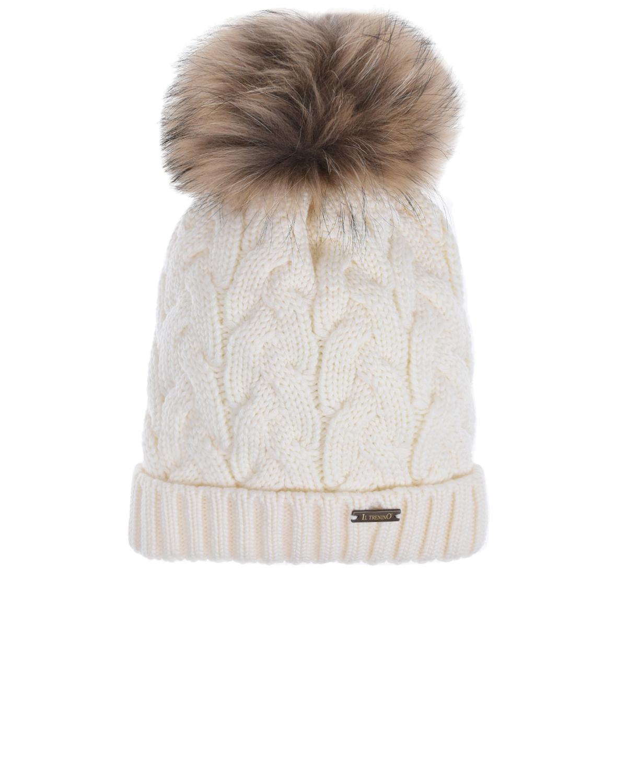 Купить Белая шерстяная шапка с меховым помпоном Il Trenino детская, Белый, 100%шерсть, 100% полиэстер, нат.мех Енота