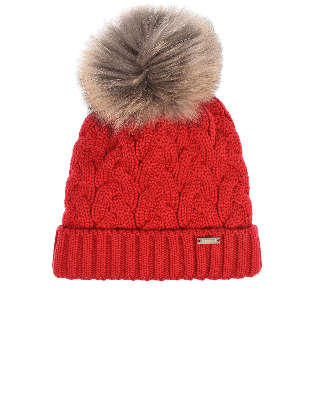 Купить Красная шапка с флисовой подкладкой Il Trenino детская, Красный, 100%шерсть, 100%полиэстер, нат.мех Енота