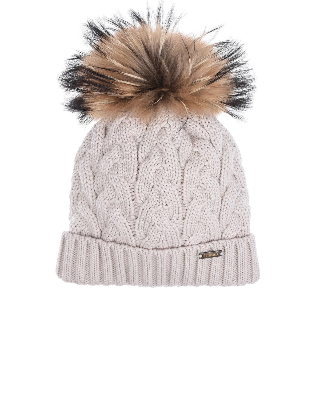 Купить Бежевая шапка из шерсти с меховым помпоном Il Trenino детская, Бежевый, 100% шерсть, нат.мех Енота