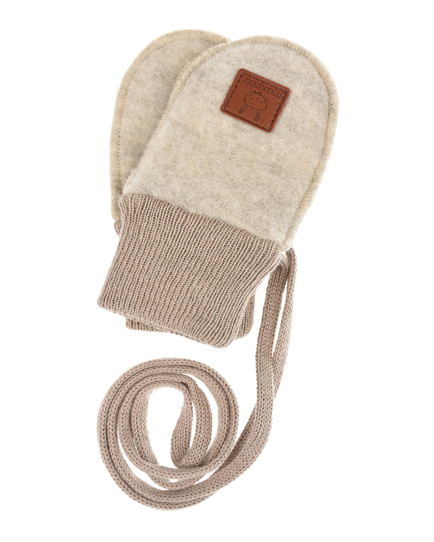 Купить Бежевые варежки-царапки MaxiMo детские, Бежевый, 100% шерсть, 100% хлопок