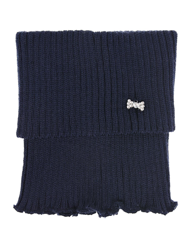 Купить Темно-синий шарф-горло для девочек MaxiMo детское, Синий, 100% шерсть