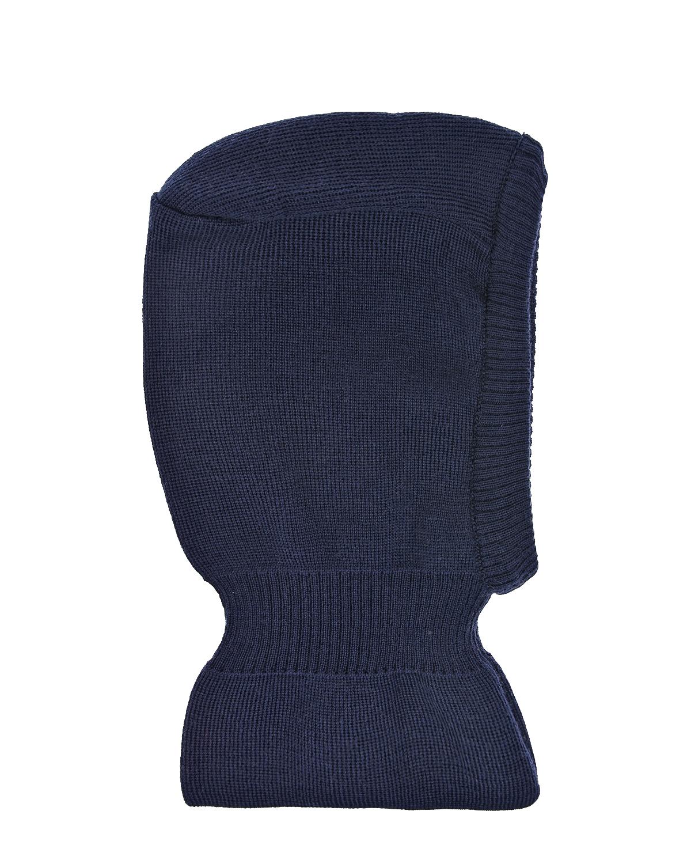 Купить Темно-синяя шапка-шлем из шерсти и хлопка MaxiMo детское, Синий, 100% шерсть, 100% хлопок