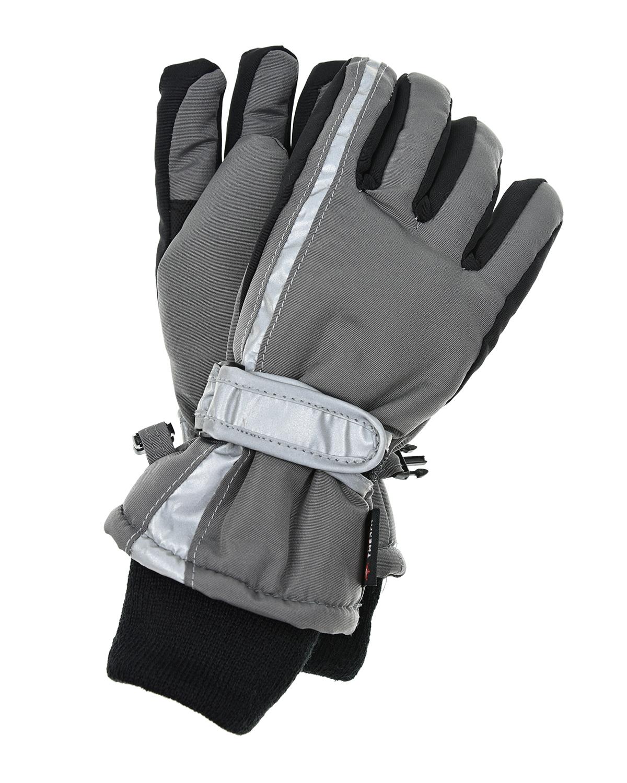 Купить Серые непромокаемые перчатки со светоотражающими вставками MaxiMo детские, Черный, 100% полиэстер, 65% полипропилен+35% полиэстер