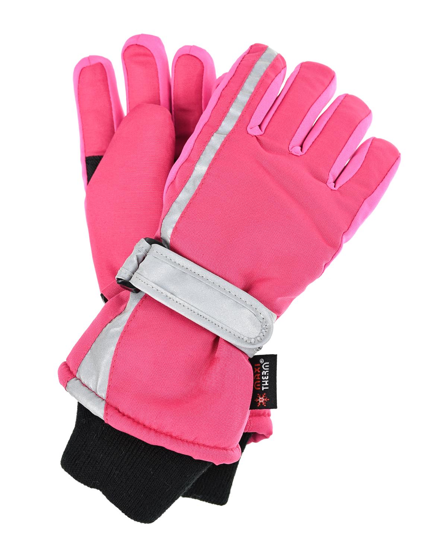 Купить Розовые непромокаемые перчатки со светоотражающими вставками MaxiMo детские, Розовый, 100% полиэстер, 65% полипропилен+35% полиэстер