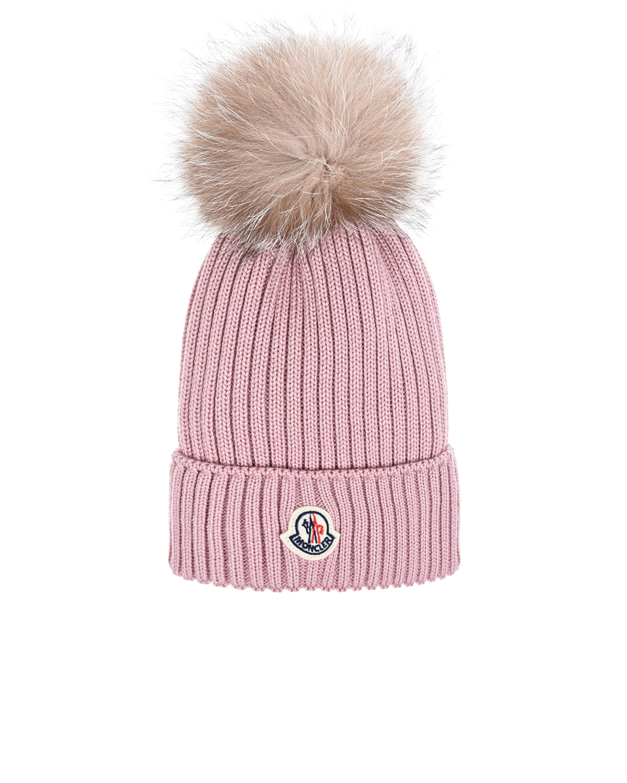 Купить Шерстяная шапка пудрового цвета Moncler детская, Розовый, 100%шерсть, 100%нат.мех
