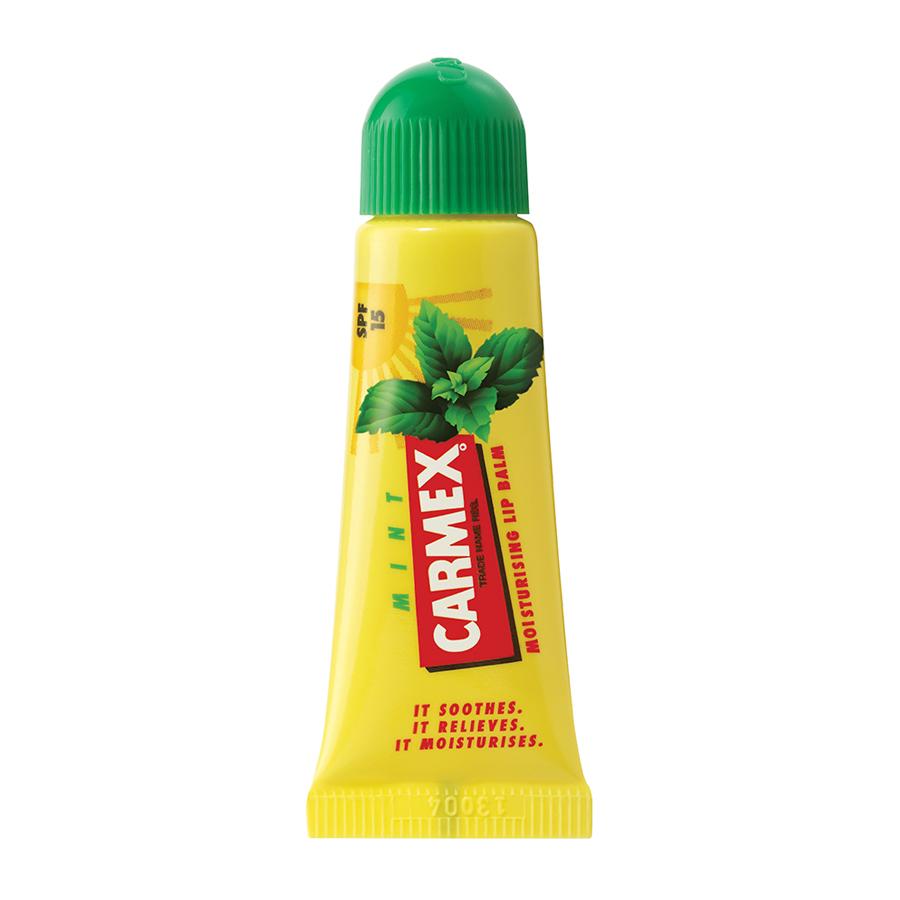 Бальзам Carmex для губ Spf15 с защитным фактором в тубе, аромат мяты