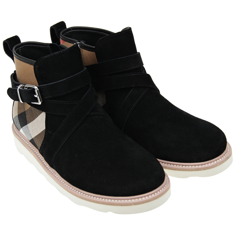 Купить Замшевые ботинки с отделкой в клетку House Check, Burberry