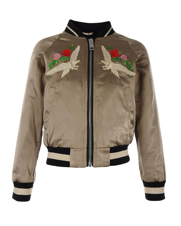 Куртка-бомбер с вышивкойКуртки демисезонные<br>Куртка-бомбер Diesel. Модель с рукавами реглан, двумя прорезными карманами и характерной трикотажной отделкой горловины, подола и манжет в полоску. Куртка декорирована вышивкой с изображением орлов, роз и лент.