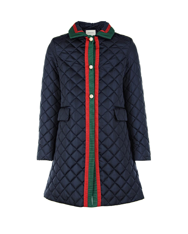 Купить Стеганое пальто с контрастной отделкой, GUCCI