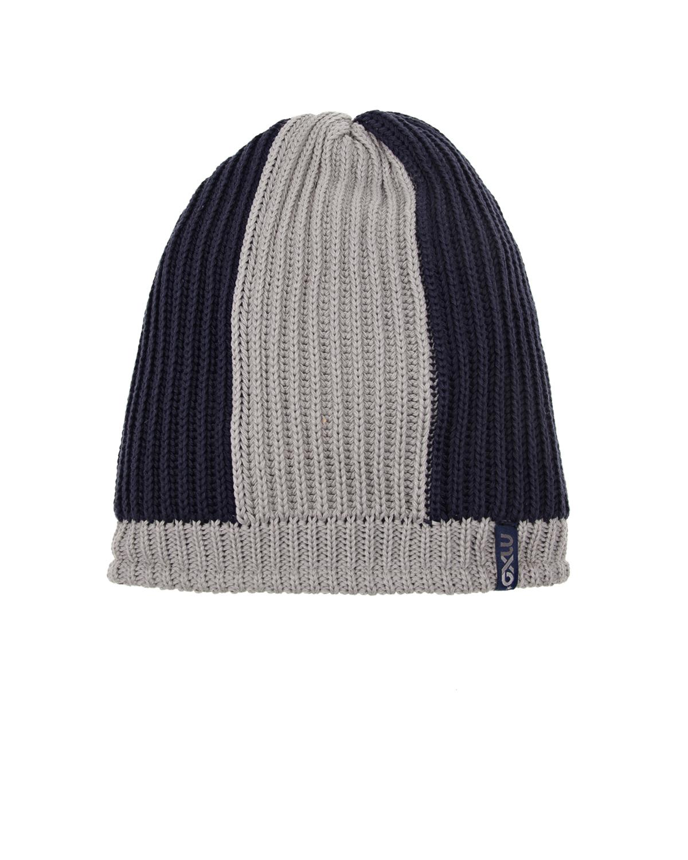 ШапкаШапки<br>Темно-синяя шапка MaxiMo из хлопкового трикотажа с серыми вставками.