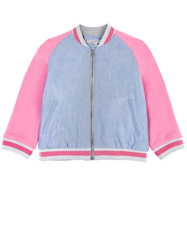 Поплиновая куртка-бомбер с вышивкой Dior детская фото