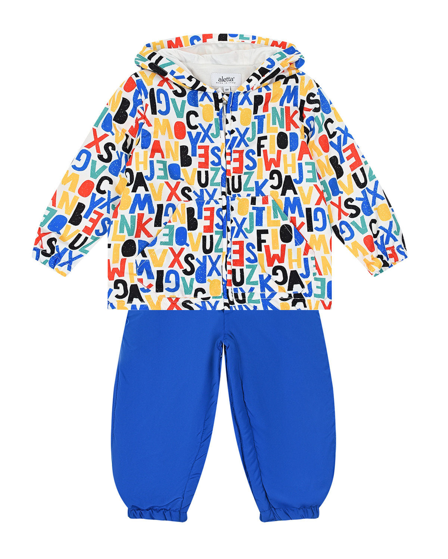 Купить Комплект: полукомбинезон и куртка с принтом буквы Aletta, Мультиколор, 100%хлопок, 100%полиэстер