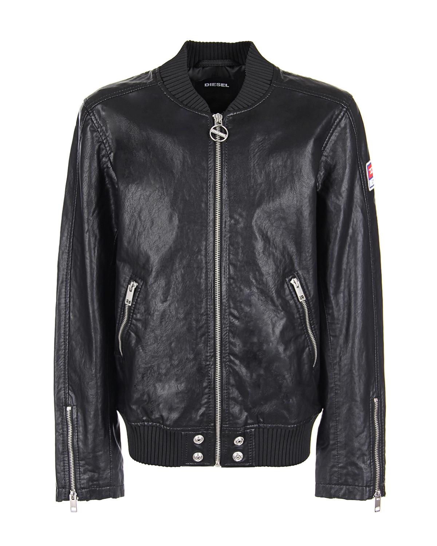 Купить Черная куртка из эко-кожи Diesel детская, Черный, 100%полиуретан, 97%вискоза+3%эластан, 100%полиэстер