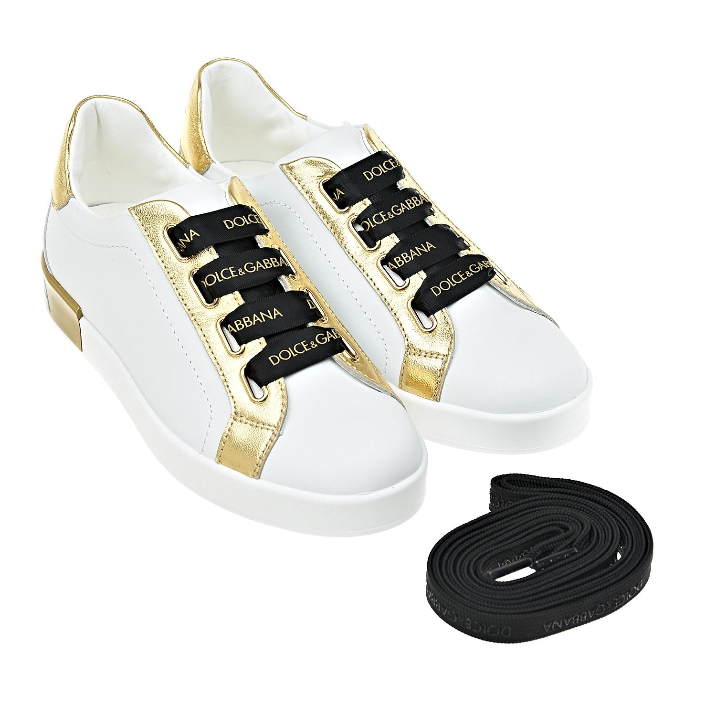 Купить со скидкой Белые кеды с золотыми вставками Dolce&Gabbana детские
