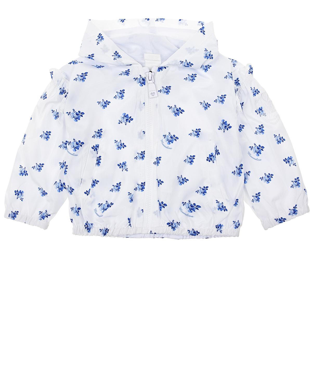 Купить со скидкой Белая ветровка с цветочным принтом Monnalisa детская
