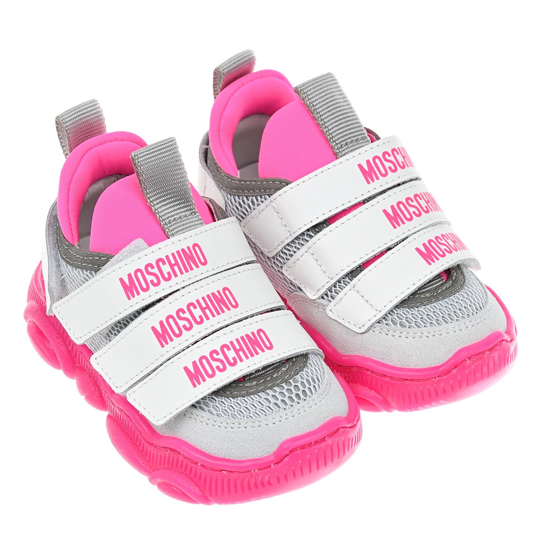 Кроссовки с подошвой цвета фуксии Moschino детские фото