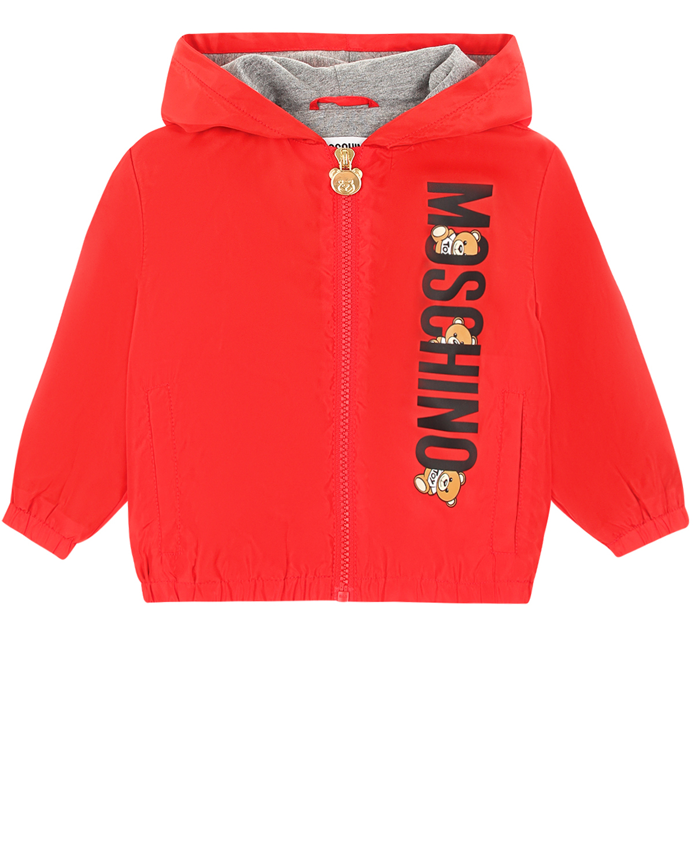 Купить Красная ветровка с логотипом Moschino детская, Красный, 100%полиэстер, 100%хлопок