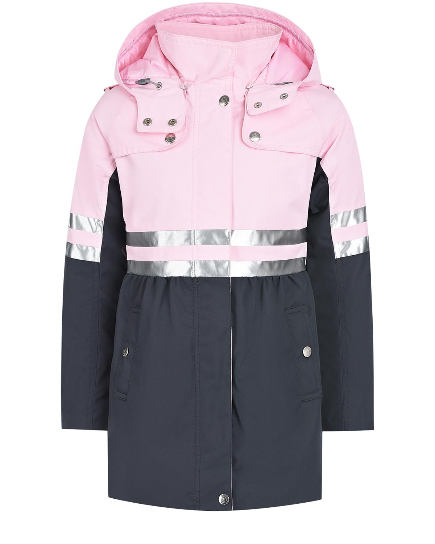 Купить Серо-розовый плащ со светоотражающими полосками Poivre Blanc детское, Розовый, 100%полиэстер