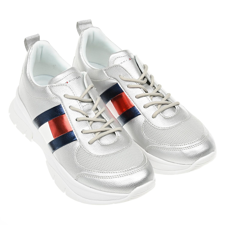 Серебристые кроссовки с логотипом Tommy Hilfiger детские фото