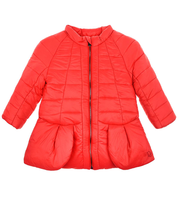 Красное стеганое пальто на молнии Dior детское фото