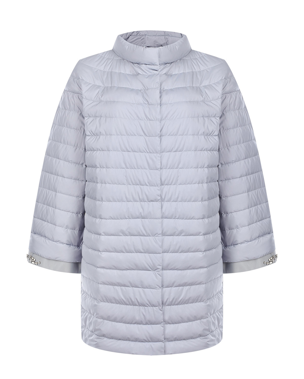 Купить Стеганое пальто с декоративной отделкой на рукавах ADD, Серый, 100%полиэстер, 100%полиэстер+пух