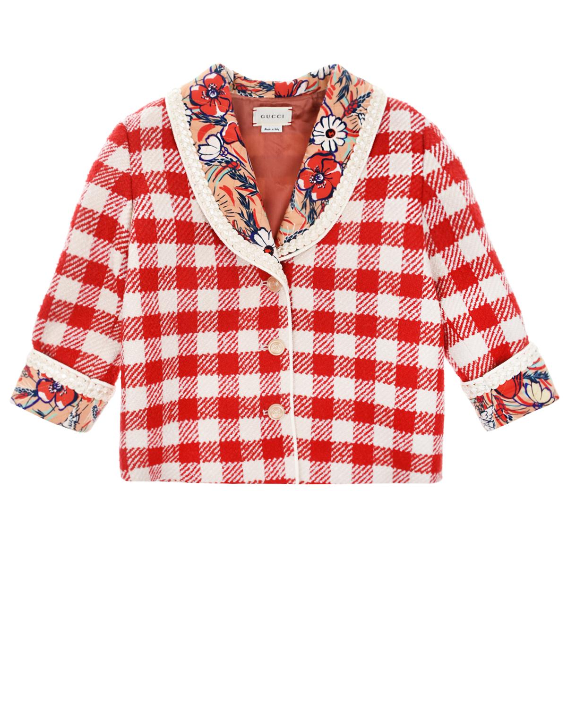 Купить Пальто в красно-белую клетку GUCCI детское, Мультиколор, 49%акрил+45%шерсть+6%полиамид, 97%ацетат+3%полиэстер, 100%хлопок, 100%купро