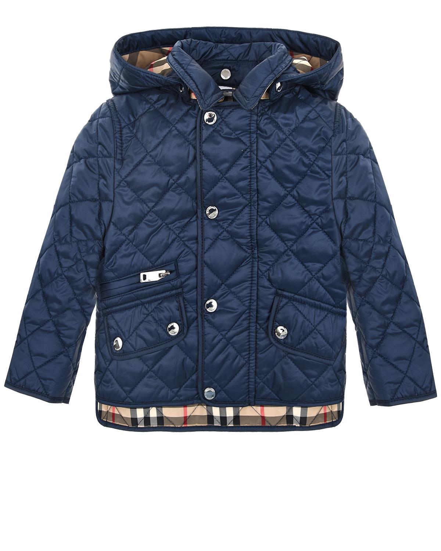 Синяя стеганая куртка Burberry детская фото