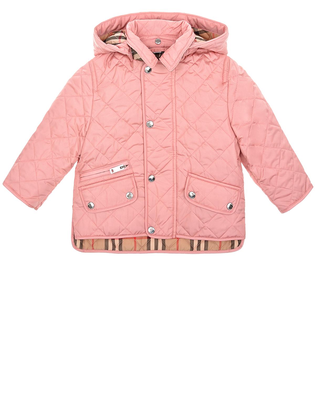 Купить Розовая стеганая куртка Burberry детская, Розовый, 100%полиамид, 100%полиэстер, 100%полиэфирные волокна
