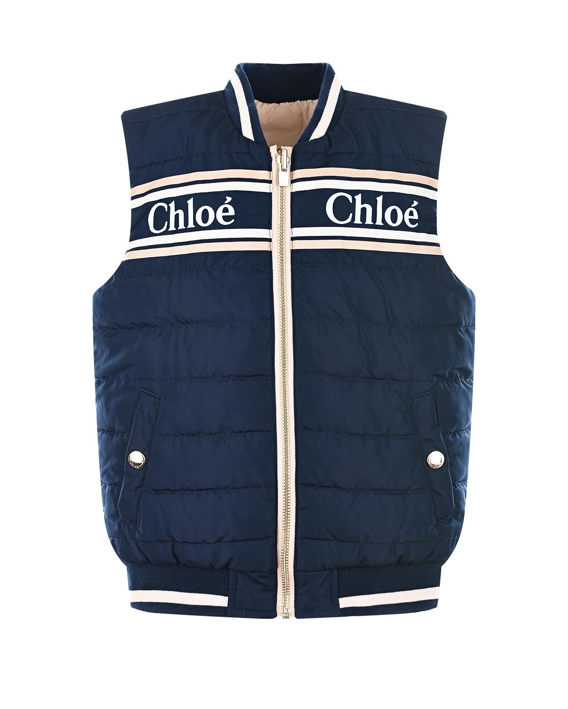 Купить Синий стеганый жилет Chloe, 100%полиэстер, 98%полиэстер+2%эластан
