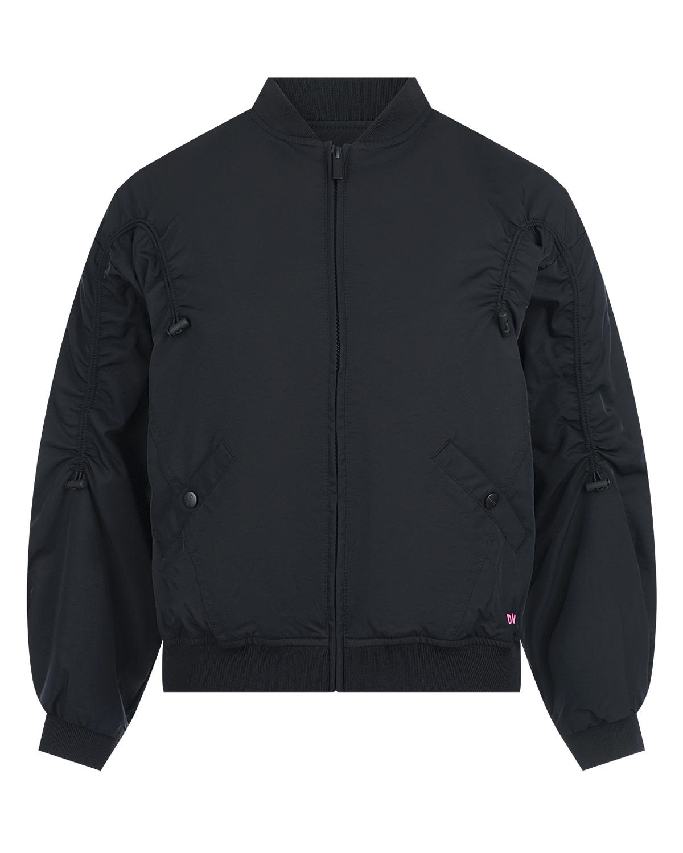 Купить Черная куртка-бомбер с розовым логотипом DKNY детская, Черный, 59%полиамид+41%полиэстер, 97%полиэстер+3%эластан, 100%полиэстер