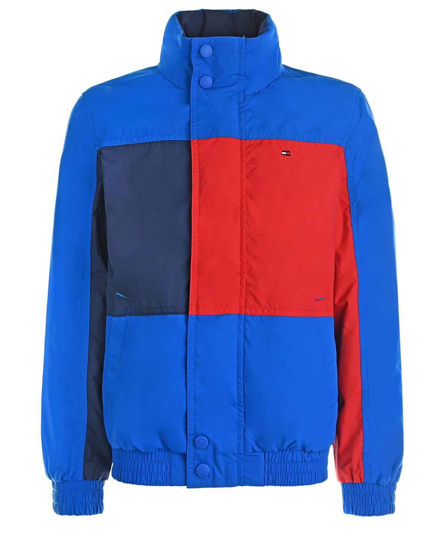 Красно-синяя ветровка color block Tommy Hilfiger детское фото