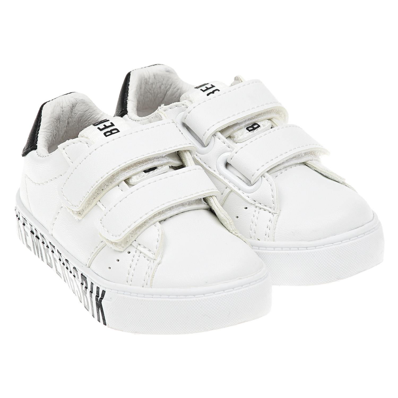 Купить Белые кроссовки с черным логотипом Bikkembergs детские, Белый, Верх:100% полиуретан, Подкладка:100% кожа, Стелька:100% кожа, Подошва:100% резина