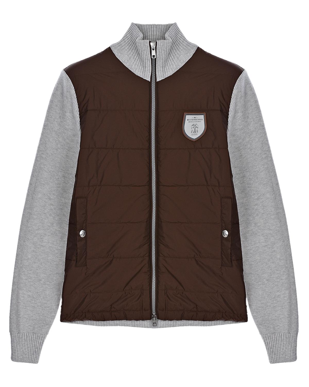 Купить Куртка-бомбер с серыми рукавами Brunello Cucinelli детская, Мультиколор, 100%нейлон, 100%хлопок, 100%полиэстер, 48%пух+20%полиэстер+20%полиэтилен+12%другие волокна