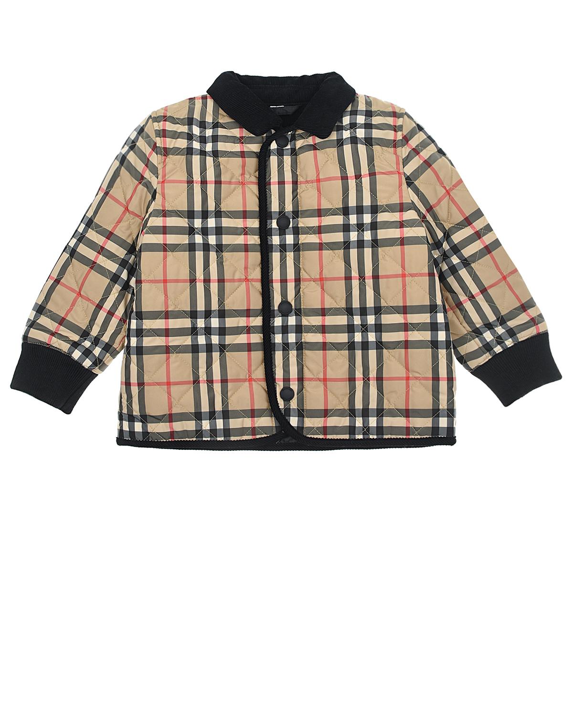 Купить Стеганая куртка с вельветовым воротником Burberry детская, Бежевый, 100% полиэстер