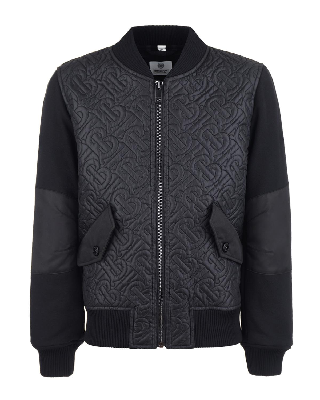 Купить Черная куртка-бомбер с монограммой Burberry детская, Черный, 100%полиэстер, 100%хлопок, 99%полиамид+1%эластан, 100%полиэфирные волок