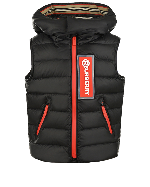 Купить Черный стеганый жилет с красной молнией Burberry детский, 100%полиамид, 100%полиэфирные волокна, 90%пух+10%перо