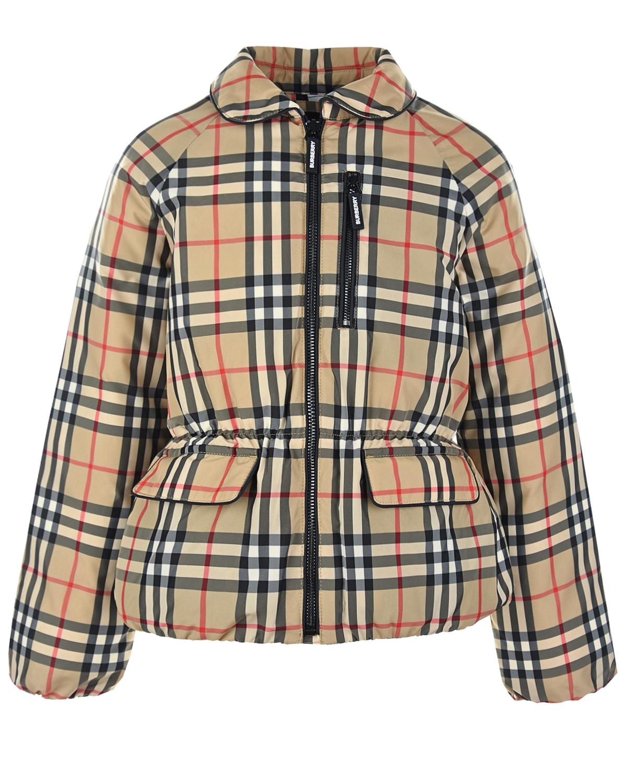 Купить Бежевая куртка в клетку Burberry детская, Бежевый, 100%полиэстер, 100%полиэфирные волокна, 80%пух+20%перо