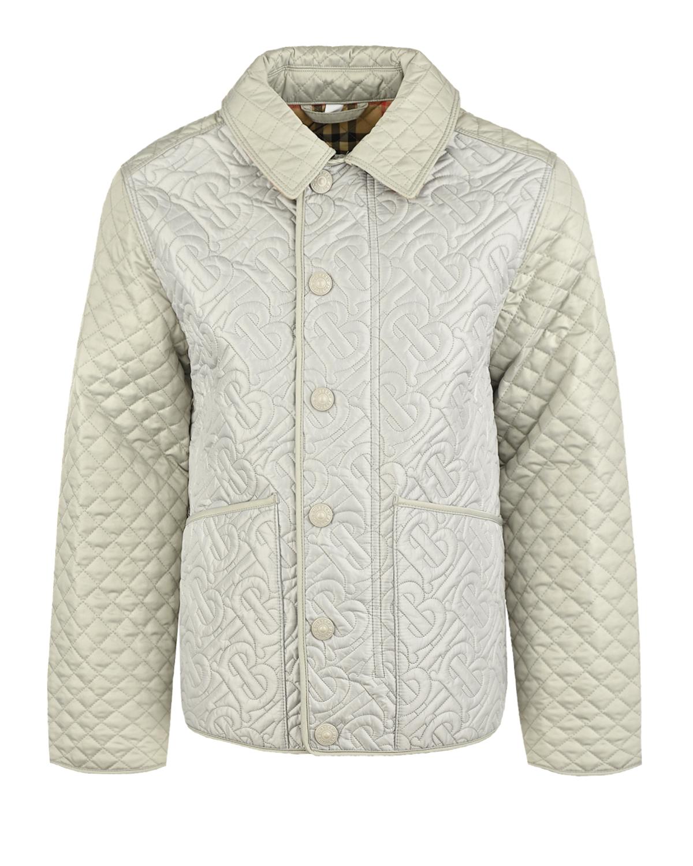 Купить Серая стеганая куртка Burberry детская, Серый, 100%полиэстер, 100%полиэфирные волокна