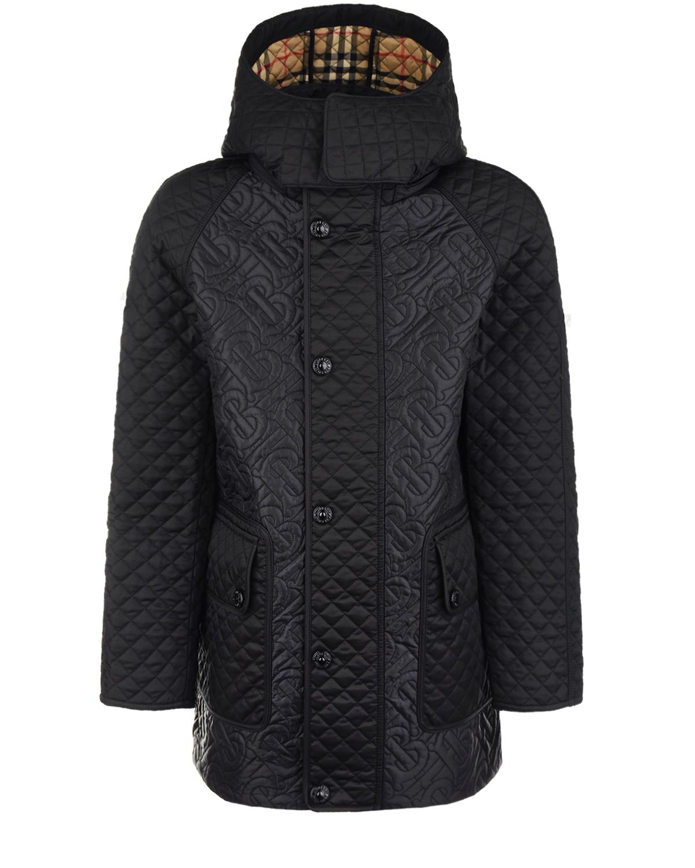 Купить Черная стеганая куртка с монограммой Burberry детская, Черный, 100%полиэстер, 100%полиэфирные волокна