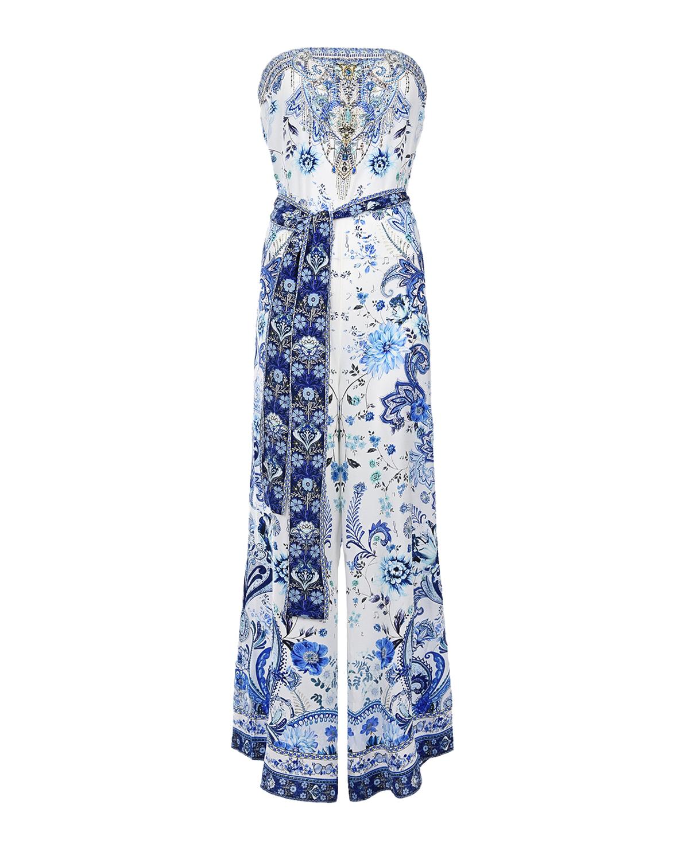 Купить Бело-голубой шелковый комбинезон Camilla, Нет цвета, 100%шелк