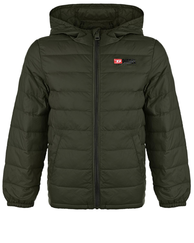Купить Темно-зеленая стеганая куртка Diesel детское, Серый, 100%полиамид, 90%пух+10%перо