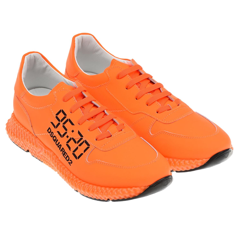 Купить Оранжевые кроссовки с логотипом Dsquared2 детские, Оранжевый, Верх:100% кожа, Подкладка:100% кожа, Стелька:100% кожа, Подошва:100% резина