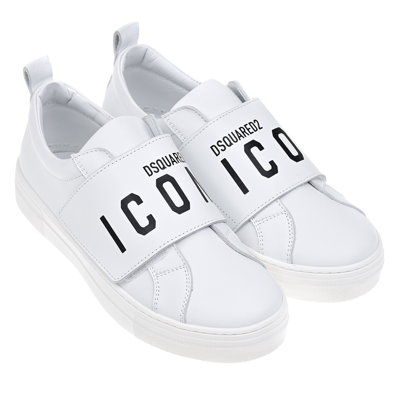 Купить Белые кеды с черным логотипом Dsquared2 детские, Белый, Верх:100% кожа, Подкладка:100% кожа, Стелька:100% кожа, Подошва:100% резина