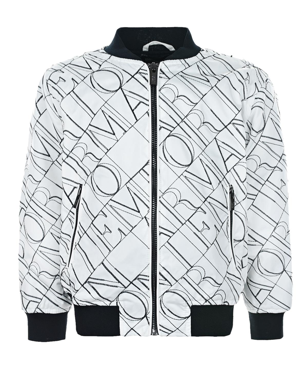 Купить Белая куртка-бомбер с логотипом Emporio Armani детская, Белый, 100%полиэстер, 98%полиэстер+2%эластан