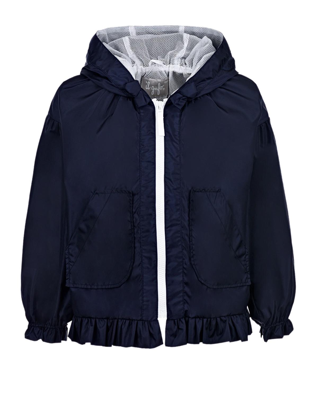 Купить Тено-синяя ветровка с рюшами IL Gufo детское, Синий, 100%полиамид